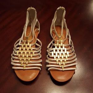 Fergie White & Gold Gladiator Sandal
